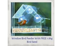 Window Bird Feeder With FREE 1.8kg Bird Seed