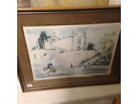 # PICTURE OF A ITALIAN STYLE VILLAGE FRAMED GOOD CONDITION £4.50 FOR QUICK SALE#