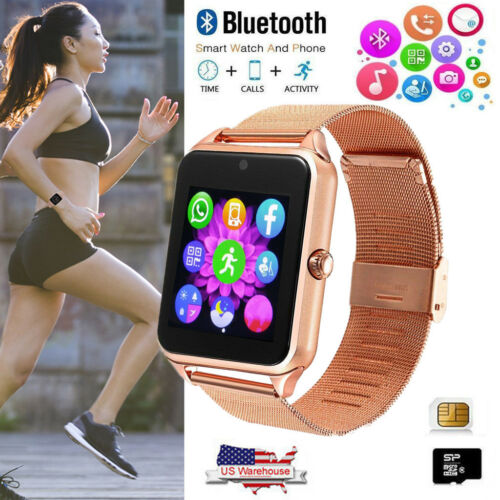 Bluetooth Smart Watch GSM SIM Wristwatch Stainless Steel for Samsung Note 9 8 Cell Phones & Accessories