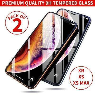 2 Pack For Apple iPhone 11 Pro Max XR XS X Screen Protector Glass Case (Best Tempered Glass Screen Protector For Iphone X)