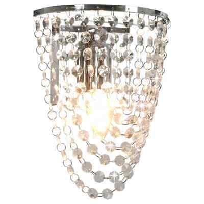 vidaXL Lámpara de Pared con Cuentas Cristal Plateada Ovalada E14 Iluminación