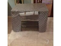 New Dog Crate with drapes - never used