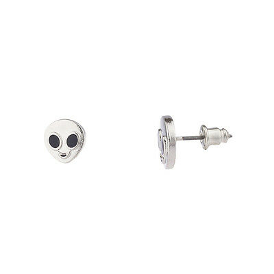 Lux Accessories Silver Tone Black Eyes Alien Extraterrestrial Stud Post Earring