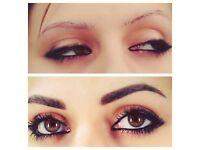 Semi permanent make up,extantion eyelashes, shaping and tinting eyebrows and eyelashes,make up