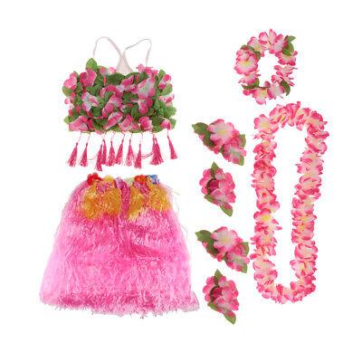 Grass Skirt Material (8/set Hawaiian Hula Grass Skirt Lei Floral Headband Set Summer Party)