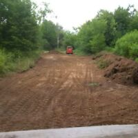 Land clearing, grading, stump removal, foundations.