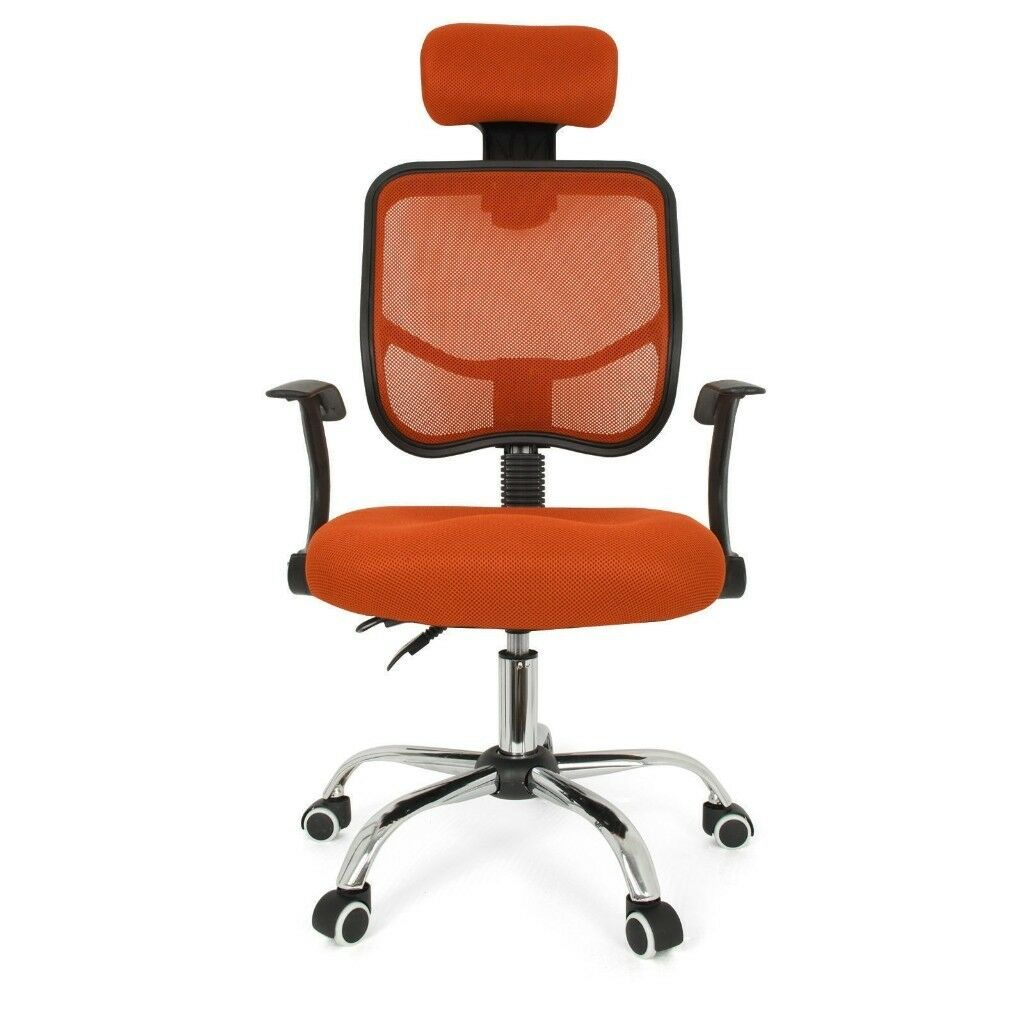 Office Chair New Mesh Fabric Adjule Swivel Padded Soft Seat Orange X