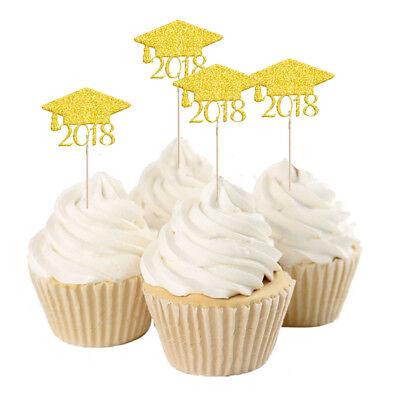 Graduation Cap Cupcake Toppers (20pcs Pack2018 Graduation Cap Cupcake Picks Toppers Grad Party Decoration)