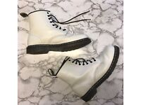 Dr Martens Docs 8 Eyelet White Smooth Boots, size 10 UK - RRP £110, selling for £30 ono