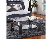 Luxurious Glass Coffee Table Rectangular Black Legs Chrome Bars