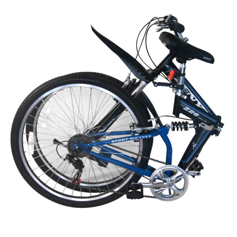 26 Folding Mountain Bicycle 7-Speed Shimano FOLDABLE Bike Matte Blue MTB