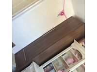 Nursery furniture set cot/cot bed with matress wardrobe and set of draws with a changing unit on top