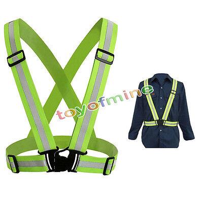 Hi Viz Adjustable Safety Security Visibility Reflective Vest Gear Stripes Jacket