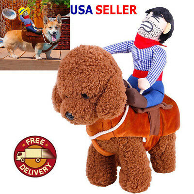 Cosplay Funny Halloween Riding Horse Cowboy Pet Dog Costumes Puppy Clothes Suits](Dog Cowboy Halloween Costumes)