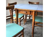 Fabulous Retro Blue Formica Drop Leaf Kitchen Dining Table & 4 Vinyl Chairs
