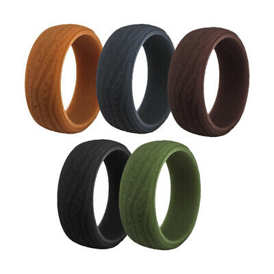 5Pcs Bark Texture Silicone Rings for Mens Fashion Classic We
