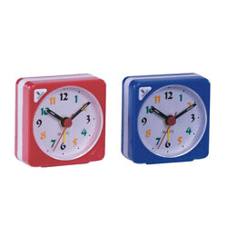 2x Travel Alarm Clock  Table Bedside Clock with Night Light-Blue/Yellow
