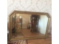 LARGE GOLD WOOD FRAME WALL MIRROR