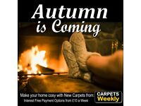 Warm carpets fitted in time for Autumn. Interest free options from £10 a week
