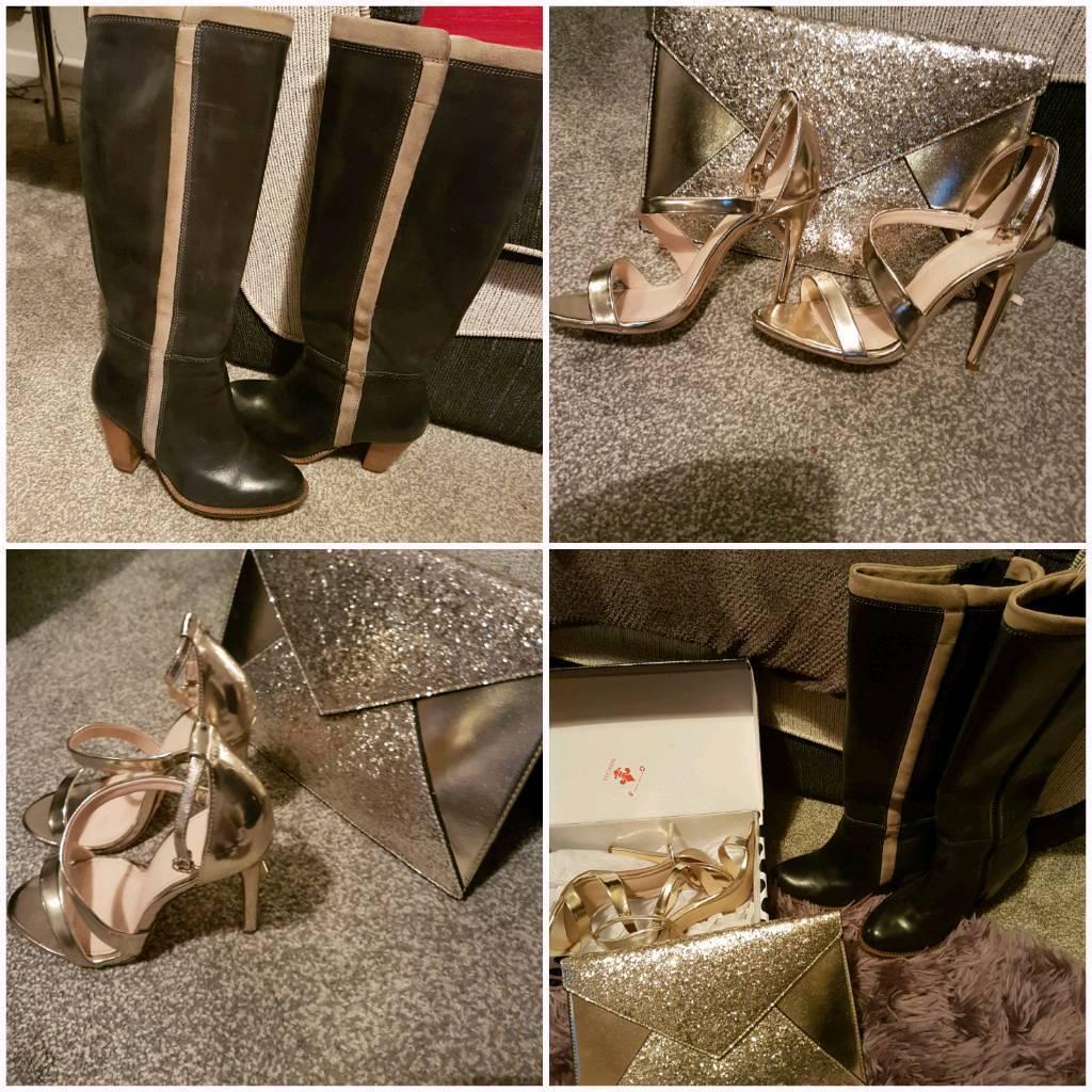 Hush puppy boots, gold shoes and matching handbag.