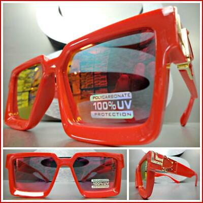 OVERSIZED VINTAGE Luxury RETRO Style SUNGLASSES Red & Gold Frame Red Mirror (Red Mirror Sunglasses)