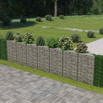 vidaXL Gabion Wall Galvanised Steel 450x30x100cm Stone Basket Raised Bed Cage