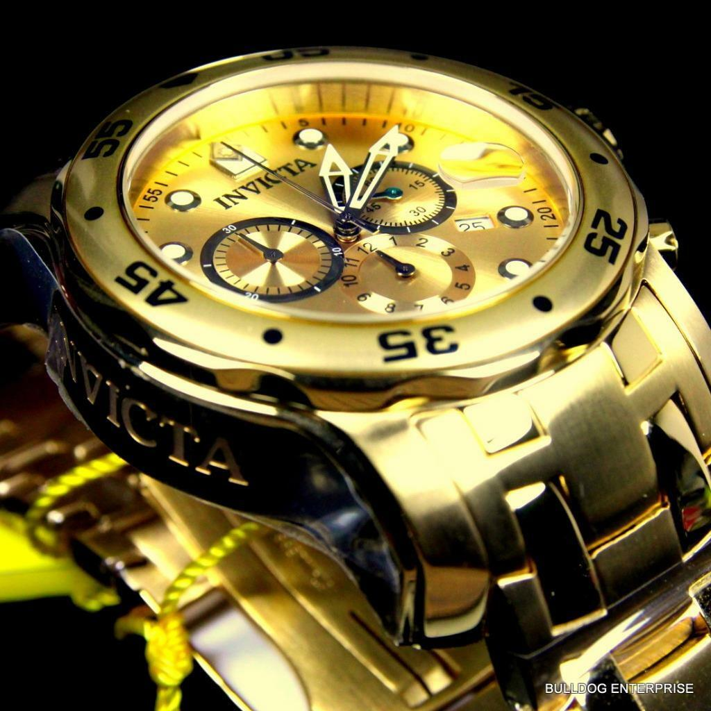 $104.99 - Men Invicta Pro Diver Scuba 18kt Gold Plated Steel Chronograph 48mm Watch New