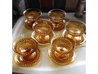 6 x vintage dessert bowls & saucers.