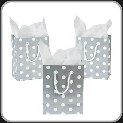 12 SMALL  POLKA DOT GIFT BAGS~Silver~White~~ Wedding~ Party Favors~Anniversary - Small Gift Bags In Bulk