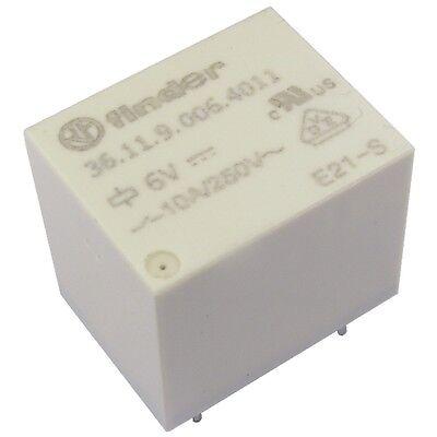 Finder 36.11.9.006.4011 Relais 6V DC 1xUM 10A 100R 250V AC Relay Print 855034 11 Relais
