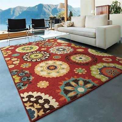 """4x6 (3'10"""" x 5'5"""") Contemporary Modern Transitional Indoor Outdoor Red Area Rug"""