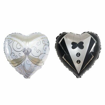 Bride And Groom Balloons (2 pcs Heart Shaped Wedding Groom Tuxedo and Bride Dress 14