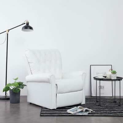 Vidaxl Reclining Chair Heavy Duty White Faux Leather Living Room Recliner Sofa