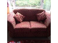 Two seater sofa - red and gold - FREE!!!