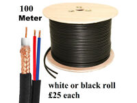 100M RG59 +2 2 Core CCTV Video and Power Cable Reel Black DVR Video Coax