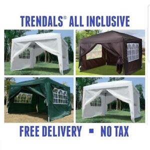 TRENDALS® ALL INCLUSIVE PRICE | 10x10 ft Easy Pop Up Wedding Party Tent EZ Gazebo Canopy SPRING SALE
