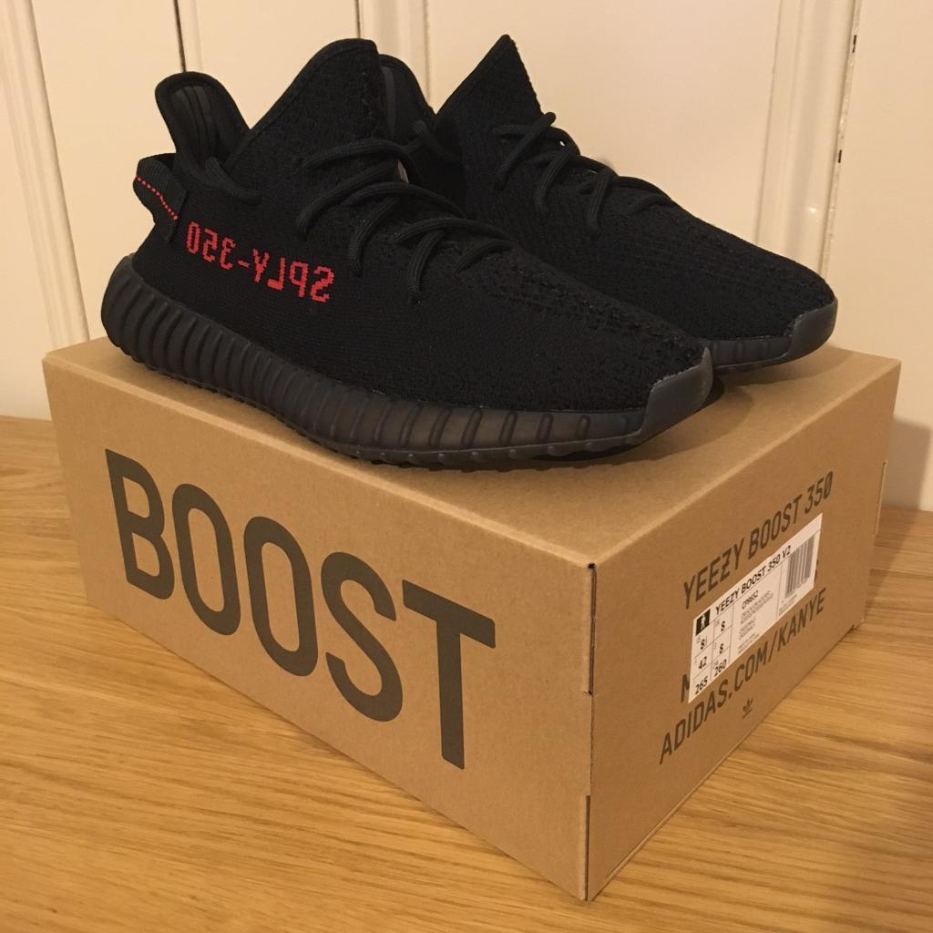 c817a4675f559 ... new zealand adidas yeezy boost 350 v2 bred size uk 8 black red a9349  efcb9