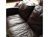 Leather settees and chair