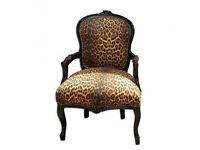 Leopard print louis french armchair black frame