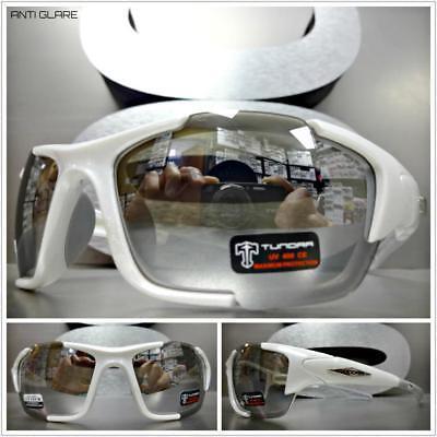 4486e2abe5 Mens WRAP AROUND SPORT CYCLING Casual Dressy SUN GLASSES White Frame Mirror  Lens