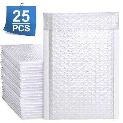 SET OF 25 Poly Bubble Envelopes Postal Shipping Mailing Bags Waterproof White UK