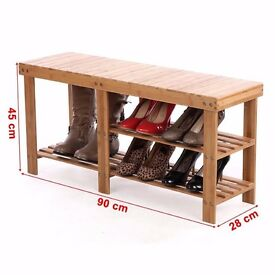 2 Tier Natural 100% Bamboo Shoe Rack Bench Storage Organiser Holder