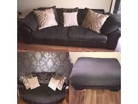 Sofa, Cuddle Chair and Footstool