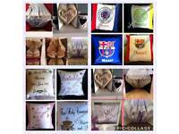 Personalised cushions and books for sale