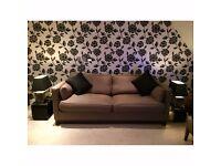 Loungin Handmade Khaki Green Fabric Three Seater Sofa Bed