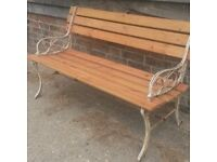 Small 1.2m garden bench with new slats and bolts