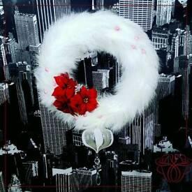 Christmas feather wreath