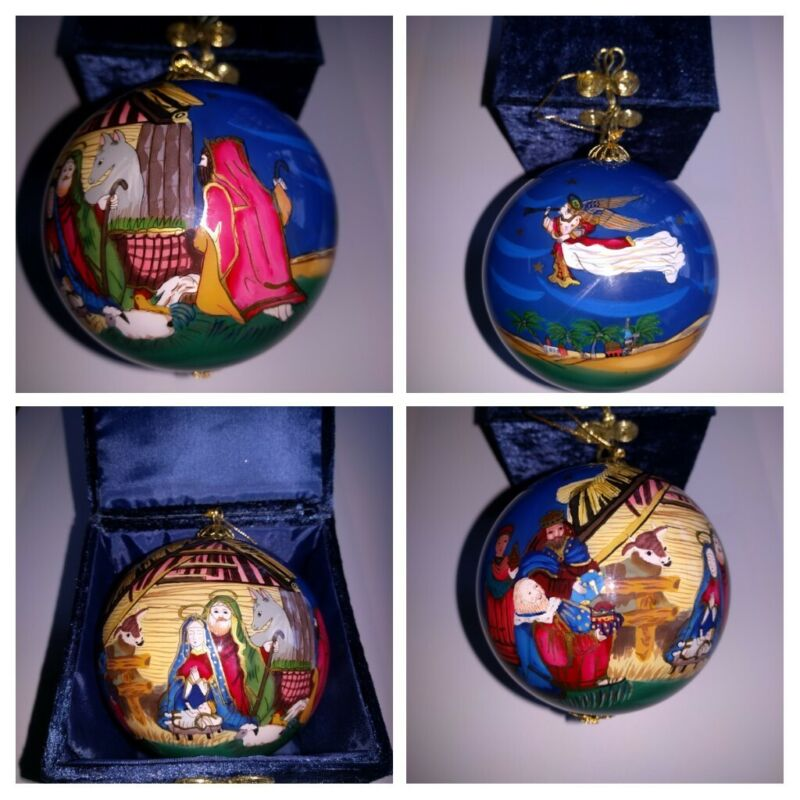 Pier 1 Li Bien Nativity Glass Ornament Manger Scene Baby Jesus 2003