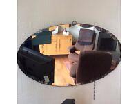 1940s/50s? Vintage Retro Oval Scallop-Bevelled Hanging Mirror Coulsdon near Croydon Surrey