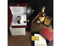 Rose Gold Cartier Santos 100 with brown leather strap and White face comes bagged and boxed